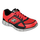 Skechers EQUALIZER 2.0 ON TRACK Mens Red Black Athletic Sneakers Shoes