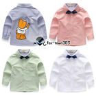 Spring Toddlers Boy Baby Child Kids Black Bear Neck Tie Long Sleeve Shirt 2-8Y