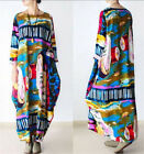 New Loose Fit Maxi Oil Painting Linen Women's Long Floral Lantern Dress Pocket
