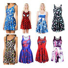 New 3D Spider-Man Printed Animate Chic Pleated Skater Dress