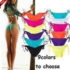 US Sexy Women Brazilian Bikini Side Tie Swimwear Thong Ruched Scrunch Bottom FO