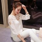 Womens Floral Chiffon Blouse Ladies Long Sleeve Casual Loose T-Shirt Tops S - XL
