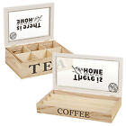 Wooden 6 Section Tea Bag Box Coffee Capsule Holder Container Glass Lid Storage