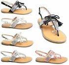 Women Ladies Diamante T Bar Tassel Flat Summer Sandals Beach Shoe Party Size UK