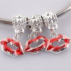 Wholesale Red Lips Kiss Dangle Charms Beads Finding Fit European Style Bracelet