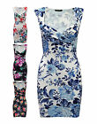 Women Ladies Wrap Over Multicoloured Textured Sleeveless Floral Print Dress 8-14