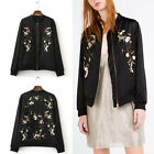 Trendy Peach Blossom Floral Bird Embroidery Bomber Jacket Baseball Outerwear Top