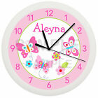 Personalized Pink and Purple Spring Butterfly Nursery Wall Clock Girls Nojo Kiss