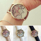Women Leather Band Analog Sport Quartz Wrist Watch Watches Vintage Map Pic HOT