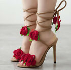 2017 NEW Sexy Red Rose Women gladiator Sandals Strappy High Heels Party shoes