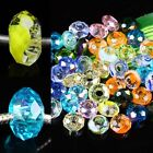 Big Hole 6mm Faceted Rondelle Crystal Glass Loose Beads Fit DIY Chains Wholesale