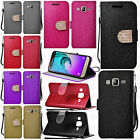For Samsung Galaxy Express Prime Diamante Glitter Leather Wallet Flip Cover Case