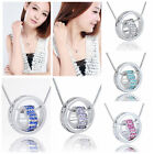 Crystal Rinestone Hollow Heart Circle Round Necklace Ring Chain Pendant Gift New