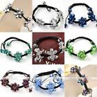 String Woven Crystal Glass Beads 3 Flowers Macrame Bracelet Adjustable Cheap