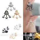 Ladies Universe Planet  Five-Pointed Stars Rhinestone Front Back Jacket Earrings