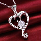 White Heart Crystal 925 Sterling Silver Pendant + Chain Necklace Jewelry A859