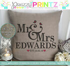 PERSONALISED MR&MRS CUSHION CANVAS CHRISTMAS VALENTINES ANNIVERSARY WEDDING GIFT