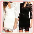 Women's White/Black Lace Dress Sexy V Neck Slim 3/4 Sleeve Cocktail Party Dress