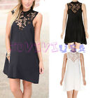 Women Casual Sexy Sleeveless Lace Flora Cocktail Party Chiffon Mini Dress
