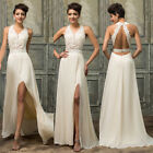 Chiffon Lace Long Prom Bridesmaid Wedding Gown Ball Evening Formal Party Dress