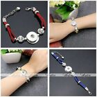 Fashion Leather Crystal Rhinestone Cuff Bangle Bracelet Fit Charm Button Snap