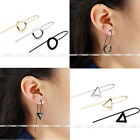 Punk Men Women Simple Geometric Line Copper Hook Eardrop Ear Studs Earrings Cool