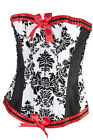 Red Trim Cosplay Burlesque Corset Black & White Moulin Rouge Victorian Lingerie