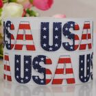 "7/8""22mm USA  Independent day print grosgrain DIY  ribbon 4th July"