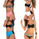 Women's Push Up Bra High Waist Halter Neck Bikini Black&White Swimsuit Swimwear