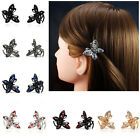 2pcs Pair Metal Hair Clip Clamp Butterfly Claw  Diamante Crystals Prom Princess