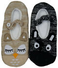 Ladies & Girls Owl Zebra Slip On Ballet Animal Character Slippers Fully lined