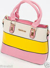 New Ladies Woman's Summer Black White Pink Blue Yellow Faux Leather Handbag