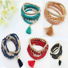 Bohemian Unisex Women Men New Beaded Tassel Mulilayer Elastic Bracelets Charm