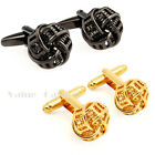 Mens Stainless Steel Vintage Twisted Knot Cufflinks for Wedding Gift Gold Black
