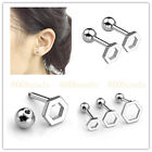 "2/6pc 16G Steel Barbell Tragus Helix Studs Hexagon Earrings Piercing 1/4"" Bars"