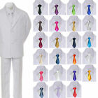 6pc Boy Kids Teen White Formal Wedding Party Suits Tuxedo Satin Necktie sz 8-20