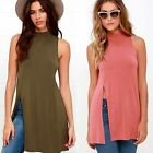 Women Sexy Turtle Neck Mini Dress Off Shoulder Spilt Long Shirt Tops Blouse