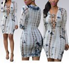 Sexy Women Long Sleeve Hollow Breast Bandage Bodycon Hip Package Dress S-XL
