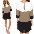 Women Loose Formal Elegant Office White Coffee Black Color Block Dress