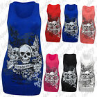 Womens Ladies Forever Young Skull Wings Printed Long Vest Top T Shirt 8-14