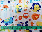 A IS FOR ALLIGATOR - ALPHABET ANIMALS ON WHITE 100% cotton patchwork fabric