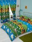 FARM YARD DUCK SWAN COW TRACTOR CHICKS BLUE YELLOW GREEN RED BEDDING OR CURTAINS