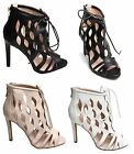 Women Ladies Cut Out High Heel Shoes Sandals Ankle Peep Toe Stiletto Party