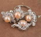 Star 18K GF Champagne Pearl Fashion Jewelry Sets Earrings Ring Size7 B8848