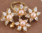 Flowers GF Champagne Pearl Fashion Jewelry Sets Earrings Ring Size 5 B8971