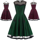 Womens Vintage 1950s Cocktail Party Dress Pinup Casual Flared Swing A-line Dress