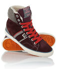 New Womens Superdry Hammer High Boots Beet Red