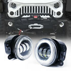 "4"" Round 60W 3 CREE LED Driving Fog Projector Lights with DRL Halo Angel Ring"