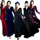 5 Colors Elegant Women V Neck Gorgeous Shimmer Velvet Stretchy Long Sleeve Dress