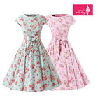 Women's Mint Pink Floral Dress Vintage Cap Sleeves 50s Rockabilly Swing Dress
